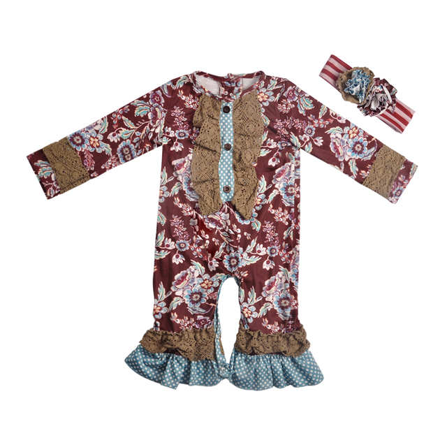 af1c0ee355e4 New Fashion Baby Floral Rompers Cotton Jumpsuit wholesale Infant Rompers  Knitted Ruffle Outfit With Headband GPF809-269