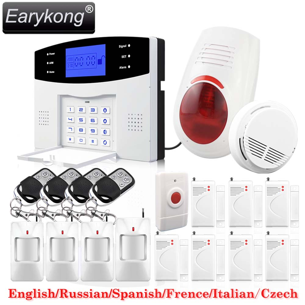 DHL Free Shipping!English Russian Spanish French Voice Wireless GSM Flash Siren Home security Alarm systems LCD Keyboard Smoke free shipping english russian wireless gsm pstn phone line 110db siren home security alarm systems lcd touch keyboard smoke fire