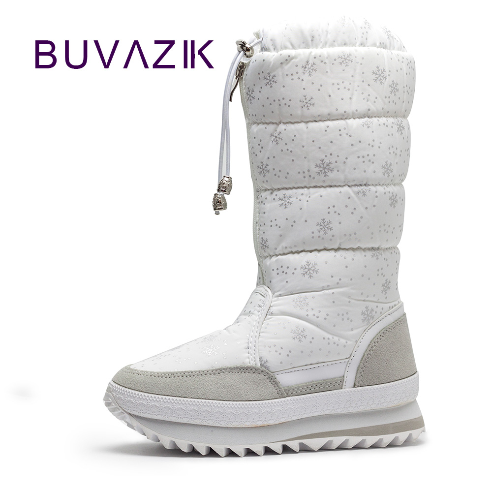 2017 new warm snow boots high fashion women winter non-slip thick cotton shoes woman plush mid calf botas mujer snowflake 2017 new  warm solid anti slip snow