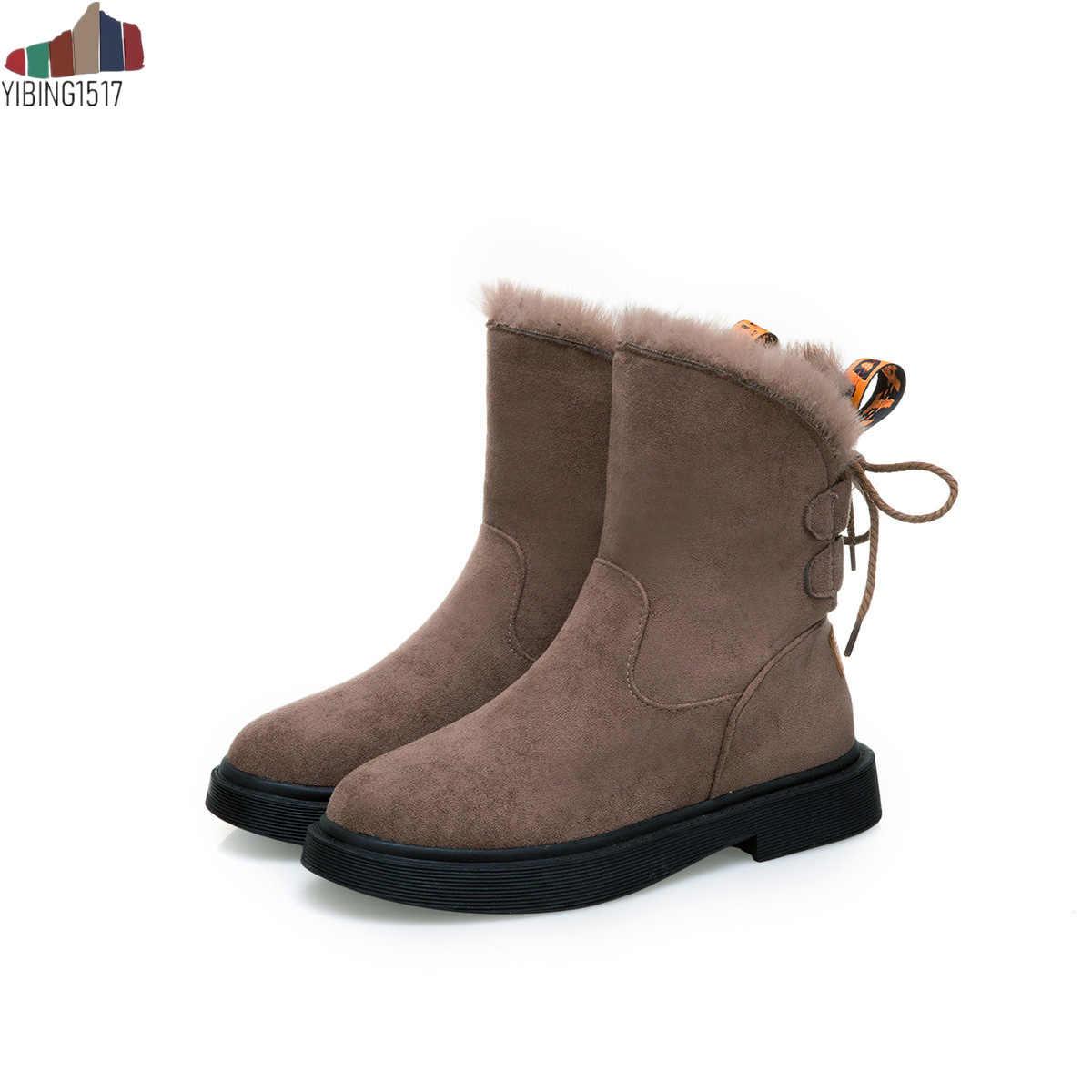 Kadın Çizmeler Orta Buzağı Botlar Yüksek Bota Su Geçirmez Bayanlar Kar Kış Ayakkabı Kadın Peluş Astarı Bota Feminina 2019