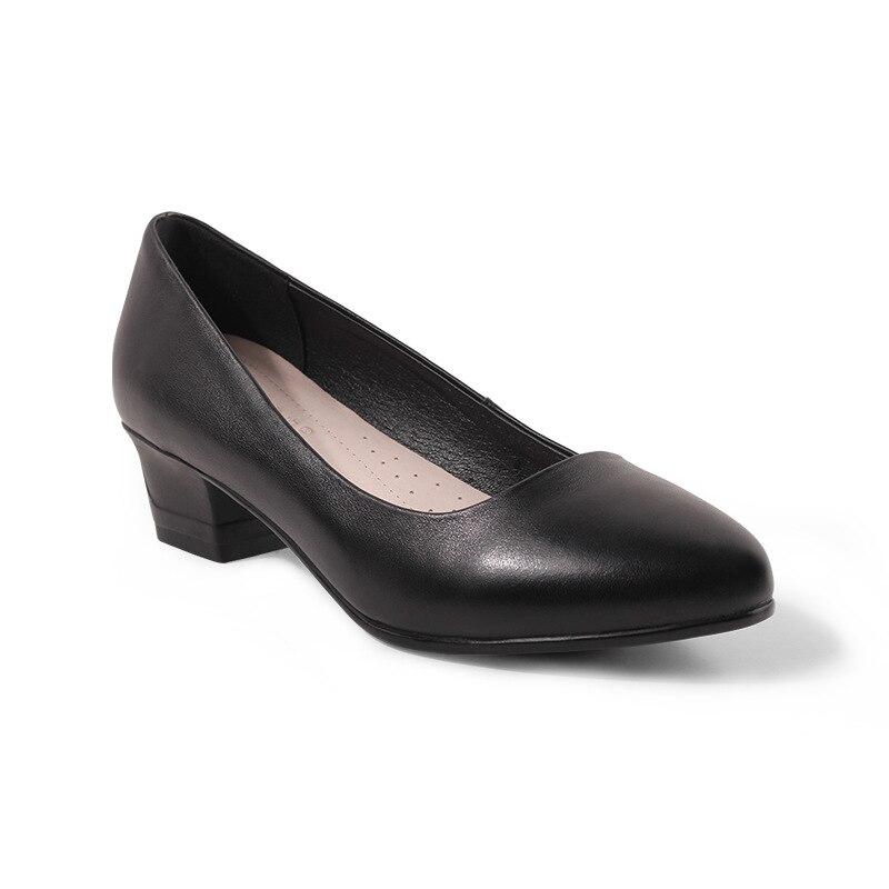 Cómodos zapatos de tacón alto cuadrados de cuero suave de moda para mujer zapatos de trabajo de 3,5 cm zapatos de moda de otoño para mujer-in Zapatos de tacón de mujer from zapatos    1