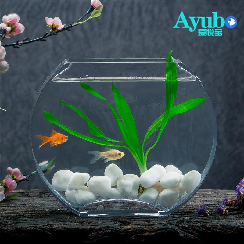 29%, réservoir de poisson en verre transparent créatif Simple de fleur de pêche réservoir de poisson d'or plat rond mini aquarium - 3