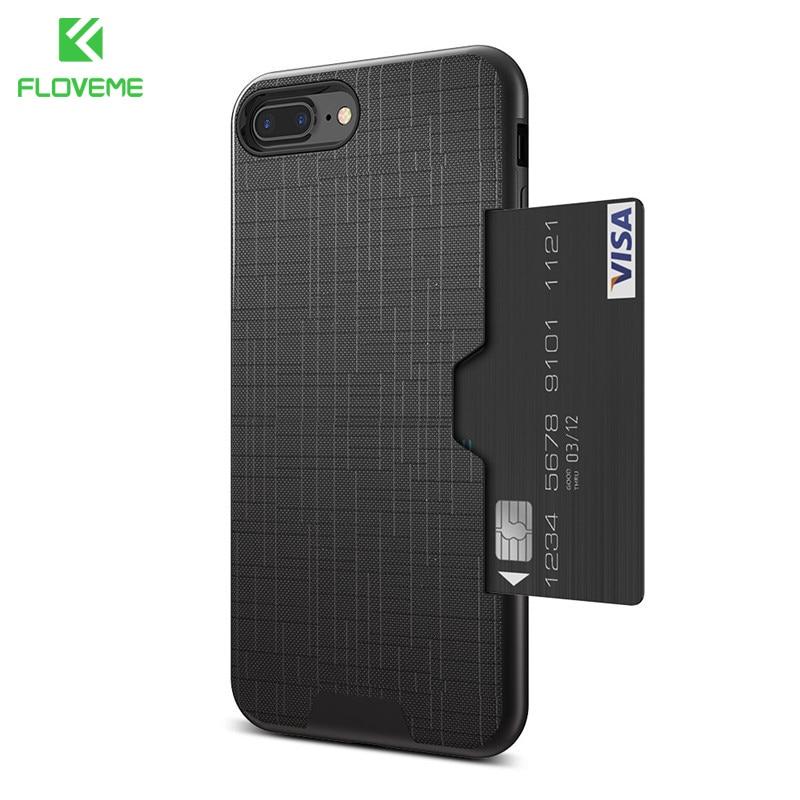 FLOVEME Slim Hybrid Credit Card For iPhone 7 Case For iPhone 7 Plus Armor Slide Card Slot Pocket Phone Back Cover Fundas Coque visa