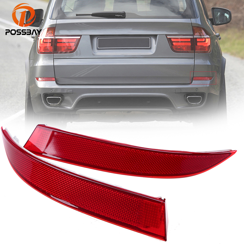 POSSBAY Rear Bumper Reflector Light Without Bulbs for BMW X5 E70 LCI 2011-2013 Red Warning Lights Car Styling Sticker Decals