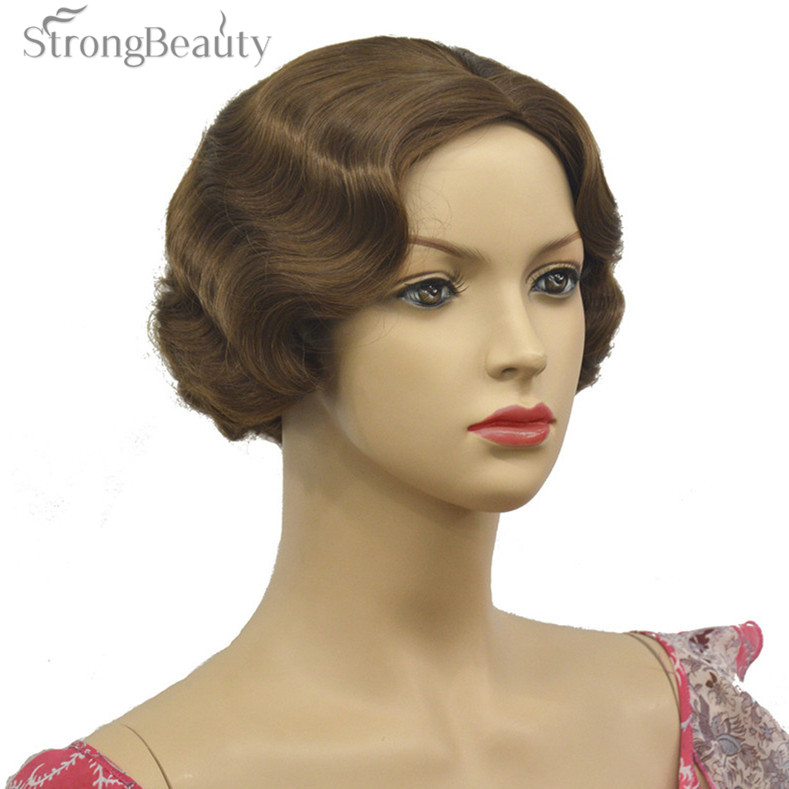 Short Finger Wave Golden Brown Full Synthetic Wig Cosplay Retro Wigs