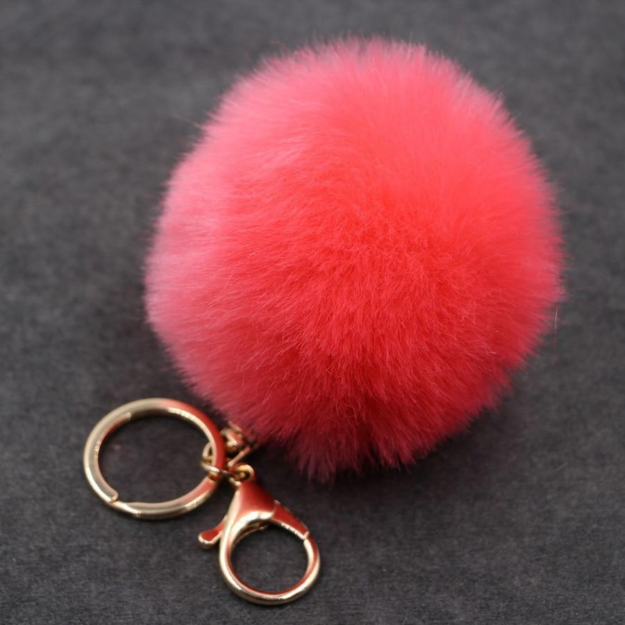 13cm Faux Fox Fur Ball Keychain Pom Pom Car Key Chain Pompons Key Ring Women Charm Bag Pendant Jewelry Accessories Wholesale