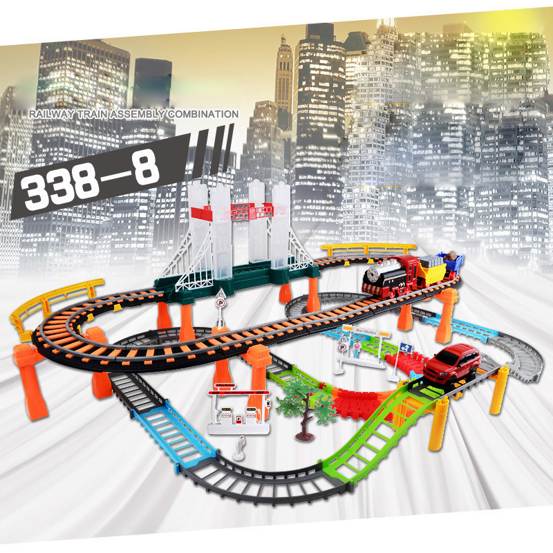 Car Racing Magical Track City High Speed Rail Electric Highway Speed Double-layer Vehicle Track Race Driving Toys For Children cute sunlight toys for boys girls vehicle multi track rail car