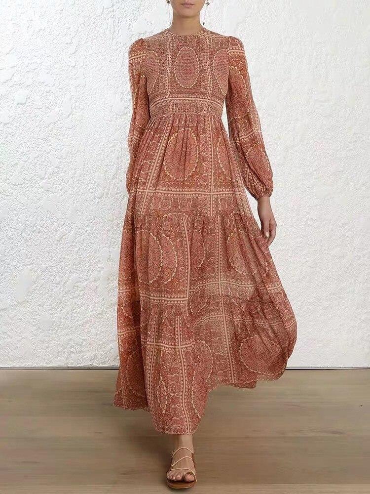 2019 été femmes élégant Vintage imprimé longue robe Boho o-cou vacances robe à manches longues cheville-longueur robe de plage