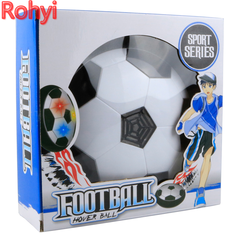 Rohyi Funny LED Light Flashing Ball Toys Air Power Soccer Balls Disc Gliding Multi-Surface Hovering Football Game Toy Kid Gift