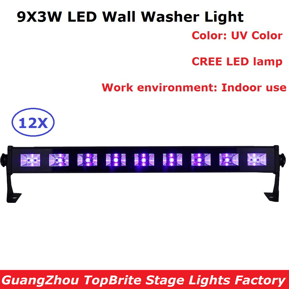 High Power 9X3W Led Bar Black Light UV Purple LED Wall Washer Lamp Landscape Wash Wall Lights For Party Wedding Entertainments aopre uv led bar wall washer lamp purple led bar party disco uv club light for landscape wash wall stage lighting effect lights