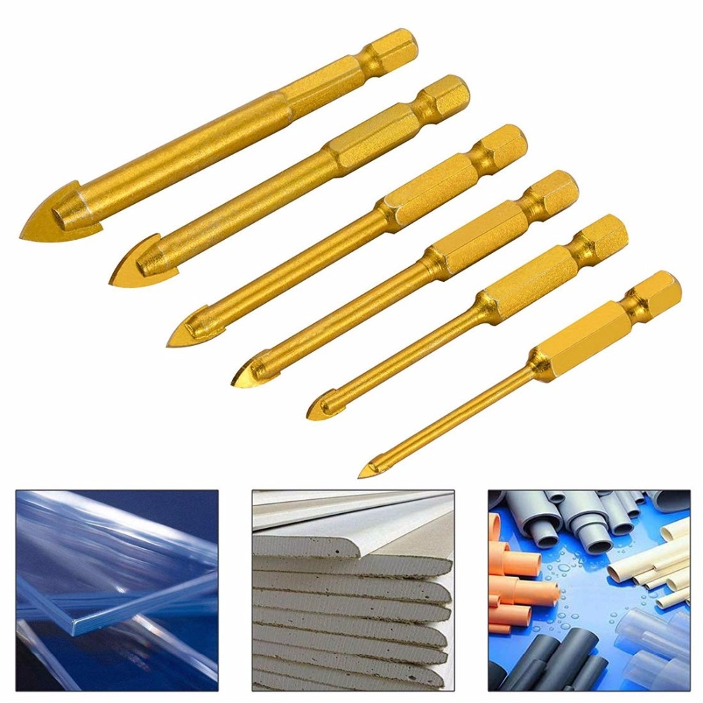 5 Pieces Tungsten Carbide TCT Glass Tile Drill Bits Set 3/4/6/8/10mm Titanium Coated Power Tools Accessories With 1/4