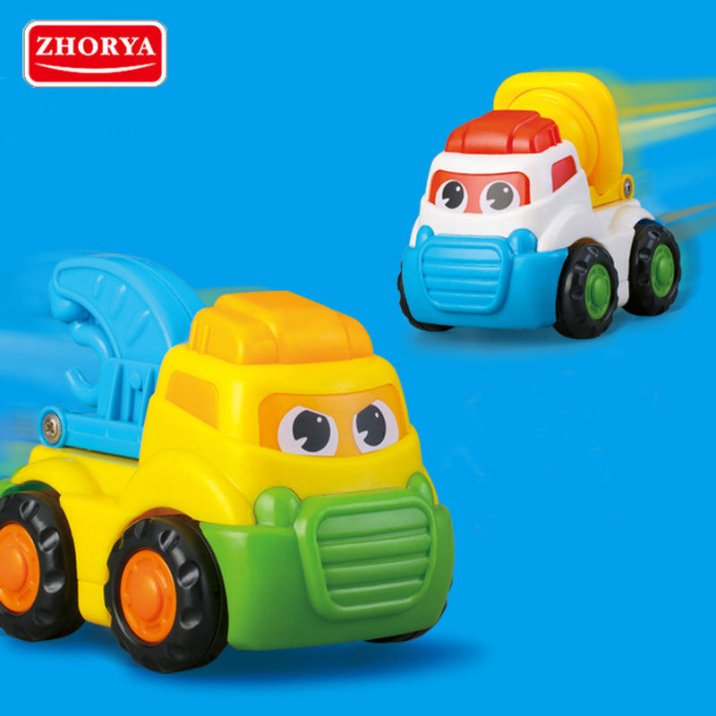 Zhorya Funny Mini Cartoon Inertia Toy Car Pull Back Friction Ed Push And Go Cars Educational Toys For Kids Children Model In Casts Vehicles
