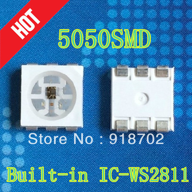 Free shipping 1000pcs/lot ws2812 5050rgb SMD built-in Full-color IC-ws2811 WS2811 Individually Addressable Digital RGB LED Chip