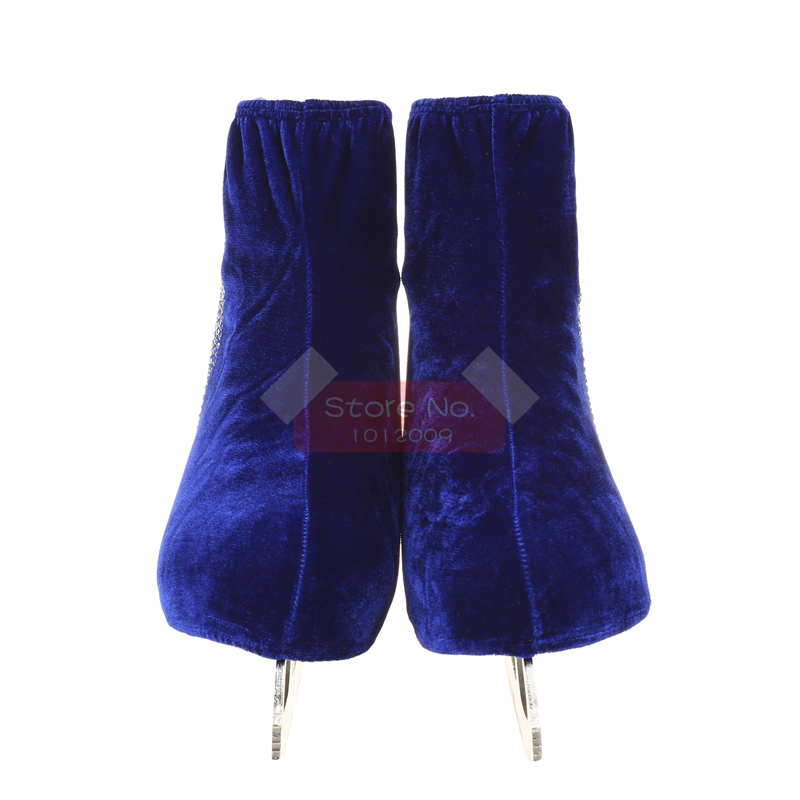 24 Colors Child Adult Velvet Ice Skating Figure Skating Shoes Cover Roller Skate Fabric Accessories White Skater 3 Rhinestone 43