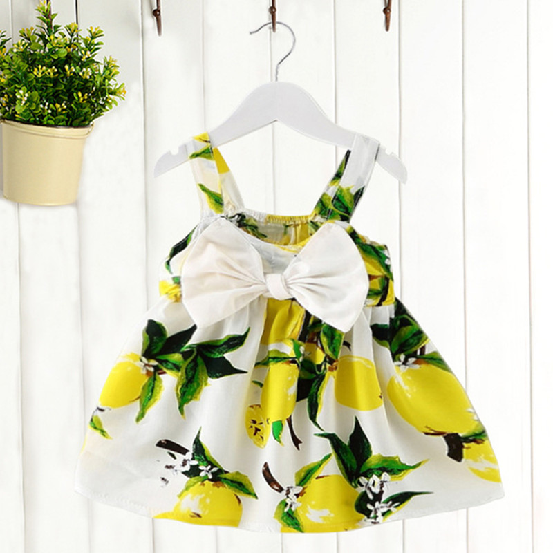 Brand Kids Dress Summer Fly Sleeve Sundress Lemon Pattern Baby Girls Dresses Fashion Children Clothes Christmas Gifts