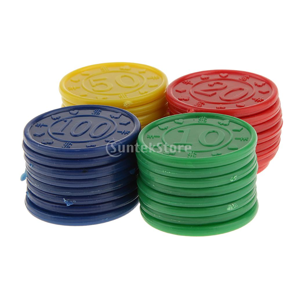 32 Plastic Poker Chips - Red Green Blue Yellow ...