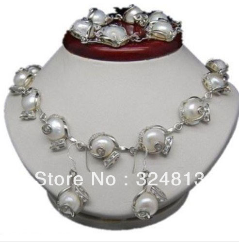 Brand New High Quality Fashion Picture 14KGP 11-12MM White Akoya Cultured Pearl Necklace Bracelet Earring Set