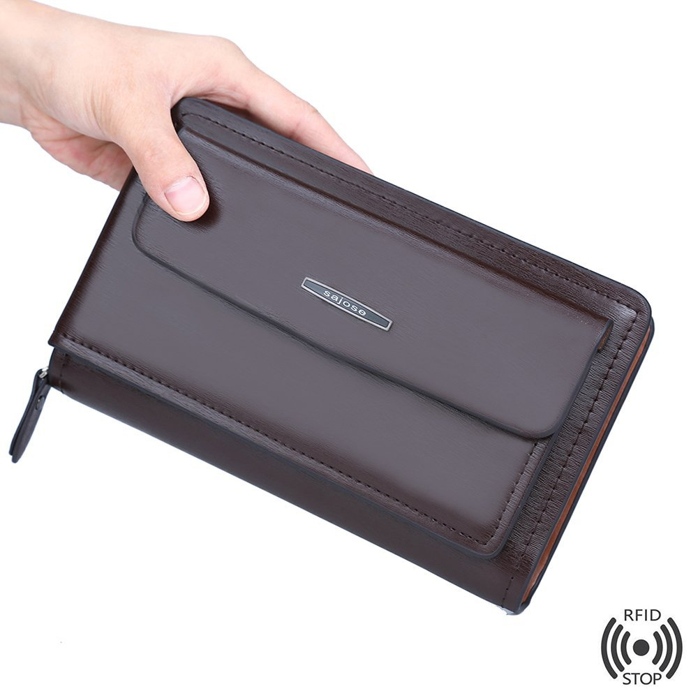 Wallet Leather Clutch Men Anti-Theft Handbags For Men Mens Genuine Leather Purse fashion Clutch For Teenage Boys Dropshipping