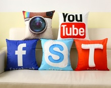 Instant Message APP Design Cushion Cover Facebook YouTube Skype Media Logo Pillow Covers Decorative Sofa Pillowcase 40x40cm
