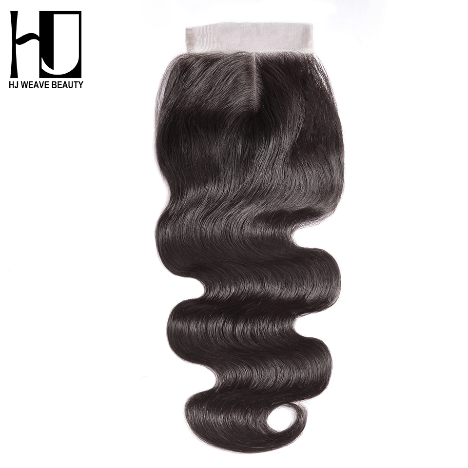 HJ WEAVE BEAUTY 5x5 Lace Closure Brazilian Human Hair Closure Body Wave Natural Color 6x6 Transparent Lace Closure