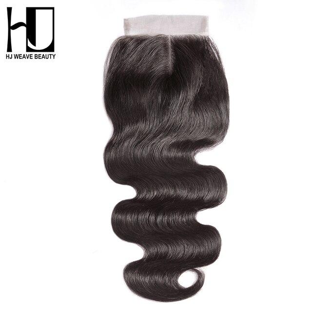HJ WEAVE BEAUTY 5x5 Lace Closure Brazilian Human Hair Closure Body Wave Natural Color 6x6 Transparent Lace Closure