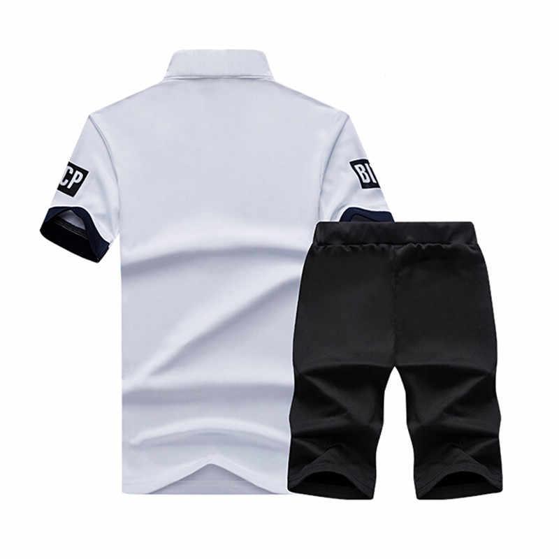 Спортивный костюм мужские шорты Летняя брендовая мужская футболка с буквенным принтом спортивный костюм набор 2019 модный костюм мужские известные бренды Мужская Топ Мужская рубашка