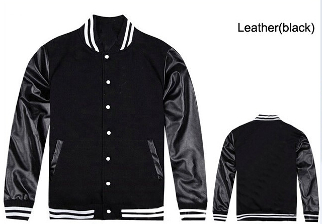 Hip Hop baseball jacket leather sleeves men plain black letterman ...