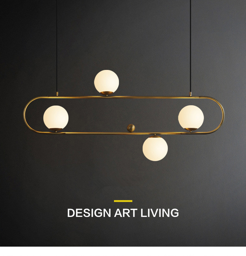 Lampe suspendue Post-moderne nordique rétro boule de verre éclairage noir or lampe pour Restaurant salon café salle à manger lampe