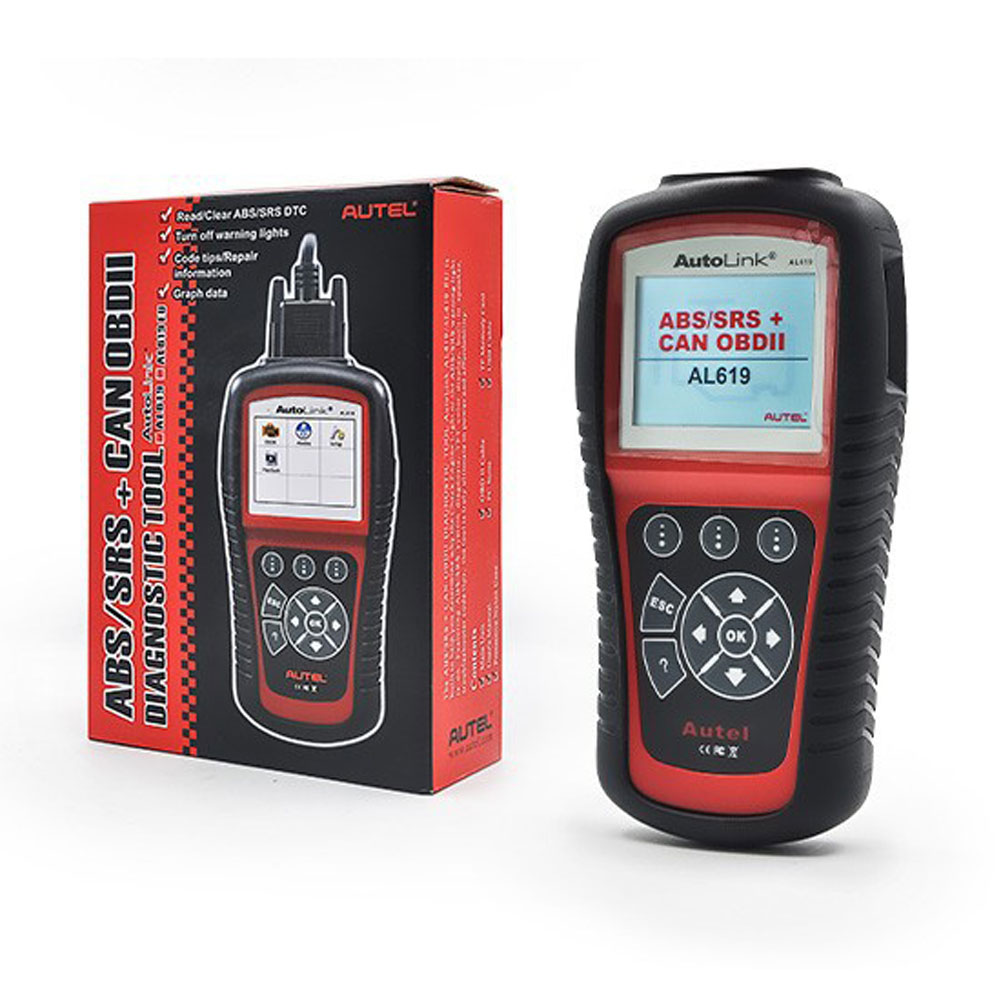 US $113 0 |Original Autel Autolink AL619 ABS SRS reset CAN OBDII Diagnostic  Scan Tool AL 619 Turn off Check Engine Light clears codes DHL-in Code