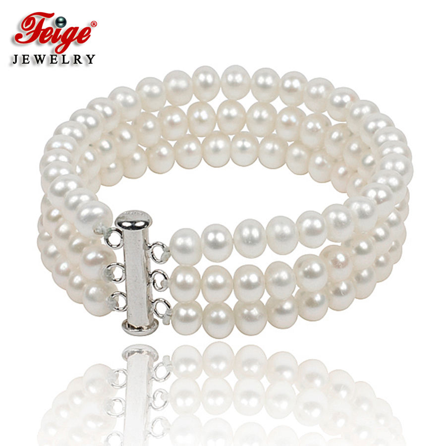 Classic Natural Pearl Strand Bracelet for Women Anniversary Jewelry Gifts 6-7MM White Freshwater Pearl Jewellery Handmade FEIGEClassic Natural Pearl Strand Bracelet for Women Anniversary Jewelry Gifts 6-7MM White Freshwater Pearl Jewellery Handmade FEIGE