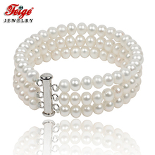 Free shipping Feige jewelry Beautiful Three circles natural white pearl bracelet 6-7mm fashion for women