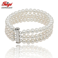 Classic Natural Pearl Strand Bracelet for Women Anniversary Jewelry Gifts 6 7MM White Freshwater Pearl Jewellery Handmade FEIGE