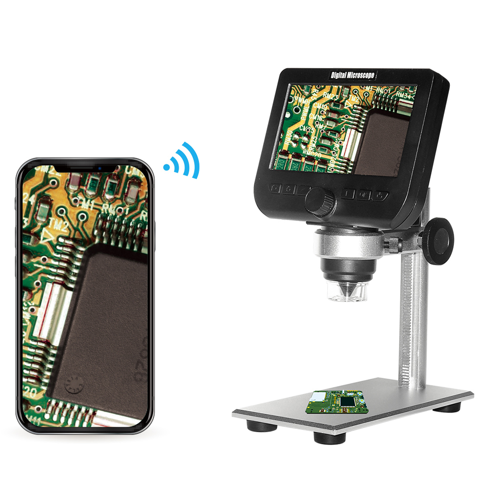1000x 2.0MP USB Digital Electronic Microscope Portable 8 LED VGA Microscope With 4.3