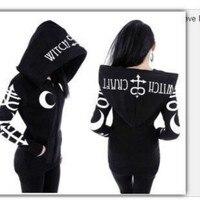 Gothic Punk Women Witch Sweatshirt American Style Print Oversized Hood Casual Slim Long Sleeve Tracksuit Hoodie cosplay