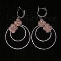 Vintage 14Kt Two Tone Gold Earrings,Natural Diamond Wedding Drop Earrings For Sale E161A