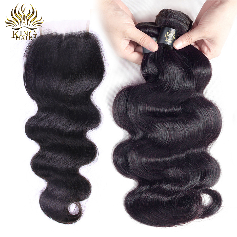 Brazilian Body Wave Hair 3 Bundles With Closure Remy Human Hair Bundles With Lace Closure King