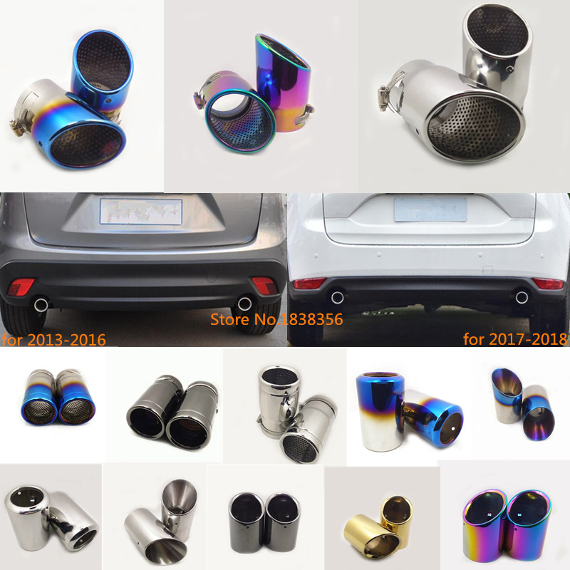 Car Styling Muffler Exterior End Tail Pipe Outlet Dedicate Exhaust Tip Tail 2pcs For <font><b>Mazda</b></font> <font><b>CX</b></font>-<font><b>5</b></font> CX5 2nd Gen 2013 2014 2015 <font><b>2016</b></font> image