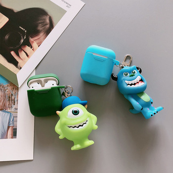 Cute Cartoon Monsters University Keychain Headphone Earphone Case For Apple Airpods Accessories cute silicone cover