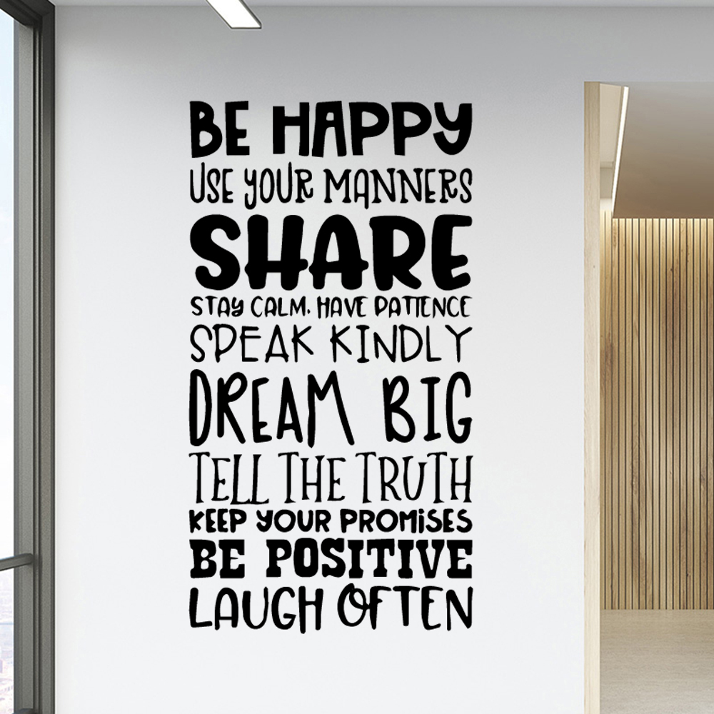 Funny Be Happy Quote Self Adhesive Vinyl Waterproof Wall Art Decal For Kids Room Living Room Home Decor Vinyl Art Decal in Wall Stickers from Home Garden