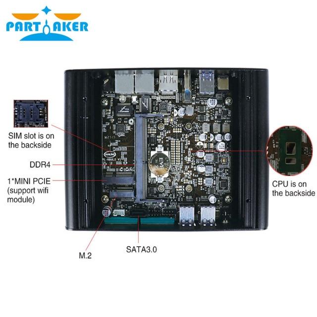 Intel Core i7 7500U Kaby Lake Мини ПК Windows 10 DDR4 NUC безвентиляторный Графика HD 620, Wi-Fi, 3g 4G HTPC HDMI дисплейный порт MiniDP типа 3