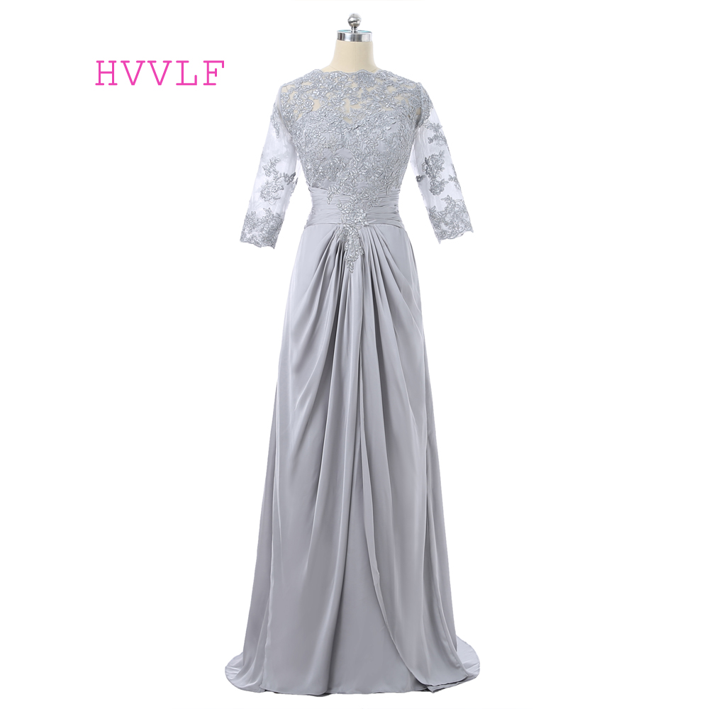 Silver 2018 Mother Of The Bride Dresses A-line 3/4 Sleeves Chiffon Lace Long Evening Dress Groom Mother Dresses For Wedding