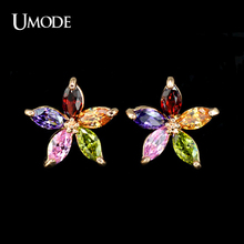 UMODE  Rose Gold Plated Earring With 5pcs Marquise cut AAA CZ  Flower Stud Earrings For Women Summer Jewelry AUE0021