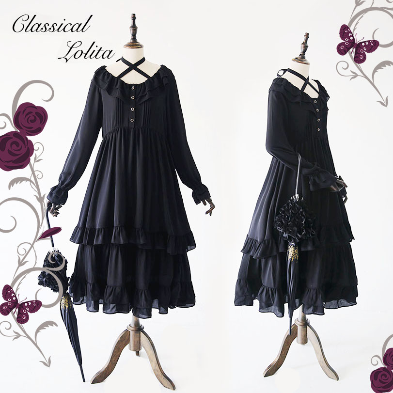 98459fc359b71 Classic Lolita Black Chiffon Dress Japanese Style Mori Girl Long Maxi  Dresses Vintage Royal Princess Lady Faldas Vestidos -in Dresses from  Women's Clothing ...