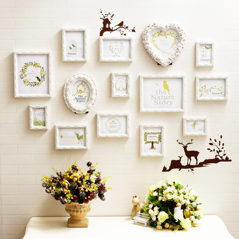 3d carved wood picture frames sets wall decor14 pcsset love photo frame combination for weddingwhite family photo frames oval in frame from home garden - Wood Picture Frame Set