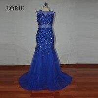 Strass Sirène Robes De Bal 2017 Robe de soirée Scintillant Bleu Royal de Soirée Dress Backless Réel Sexy Femmes Long Party Dress