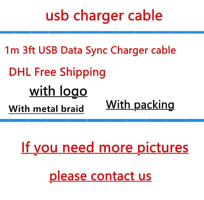 imágenes para 100 unids/lote OD: 3.0mm 1 m los 3ft USB Data Sync Cable Cargador Original de Calidad Con trenza metálica Para i 5 6 6 S 7 plus con el paquete al por menor