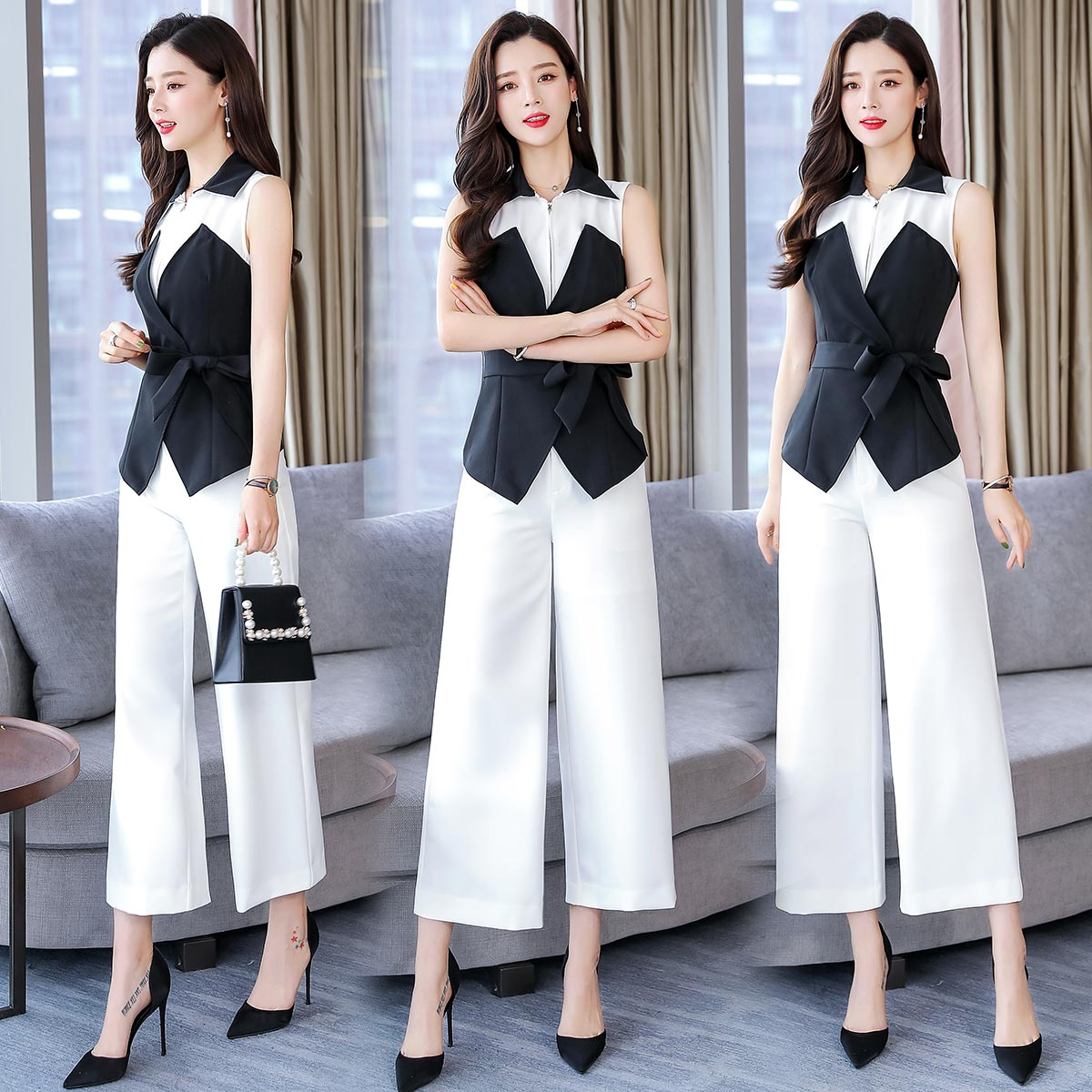 Sleeveless Two Piece Set Office Lady Top&pants Set Women's Summer Suit Conjunto Feminino Ensemble Femme Deux Pieces Woman Suit
