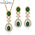 Party Accessories Gold Plated Cubic Zirconia Jewelry Sets For Women Lady Romantic Elegant Charms (JewelOra JS100508)
