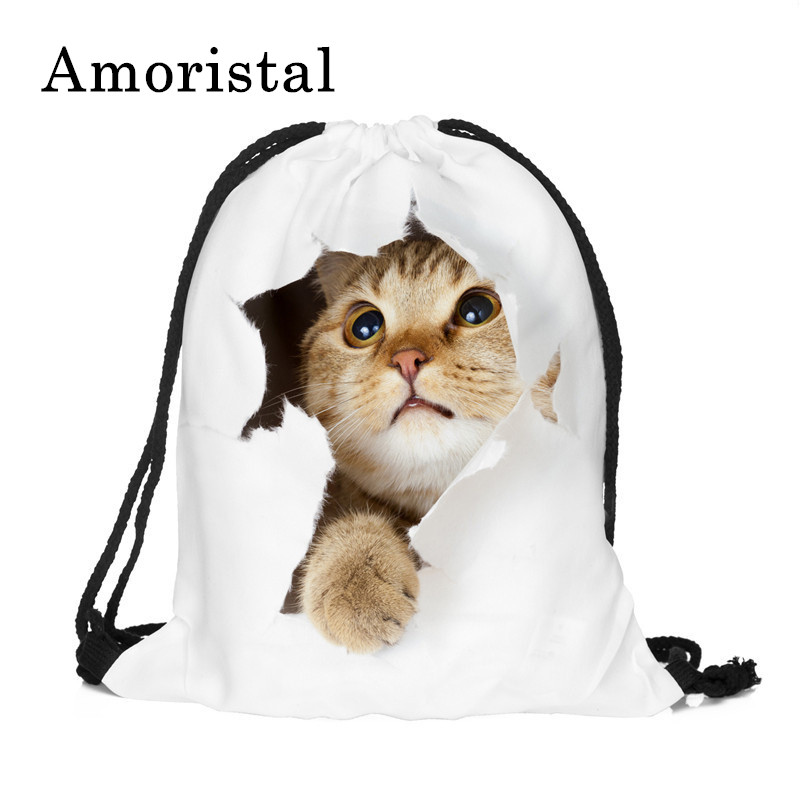 Fashion Women Drawstring Bag Cute 3D Cat Printing Travel Soft Back Women Mochila School Student Drawstring