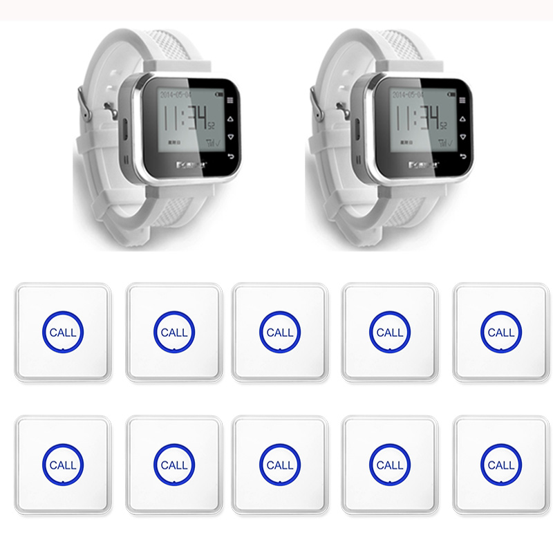 2pcs Hot Sale White Waiter Service Calling System Watch Pager Service System (KR-C166) + 10pcs F86 Wireless Transmitter one set wireless system waiter caller bell service 1 watch wrist pager with 5pcs table customer button ce passed